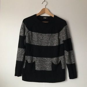 Gap Gray & Black Striped Sweater w/Pockets Size S